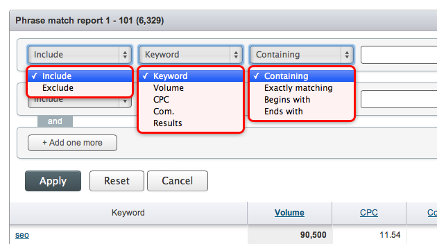 SEMrush: Filtering for Phrase match and Related keywords added! image 1