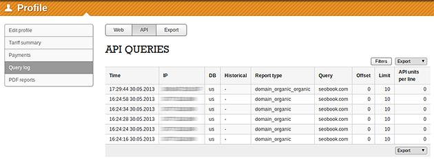 SEMrush: Your API query log is now on your profile! image 1