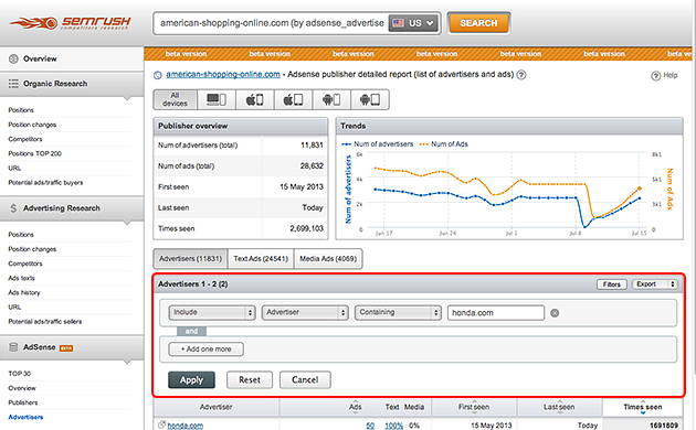 SEMrush: AdSense now has a filter and export options! image 1