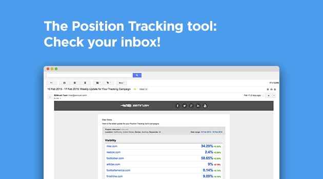 SEMrush: The Position Tracking tool: Check your inbox! image 1
