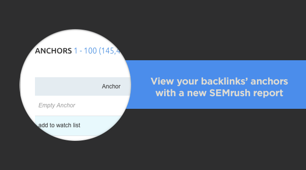 SEMrush: View your backlinks' anchors with a new SEMrush report! image 1