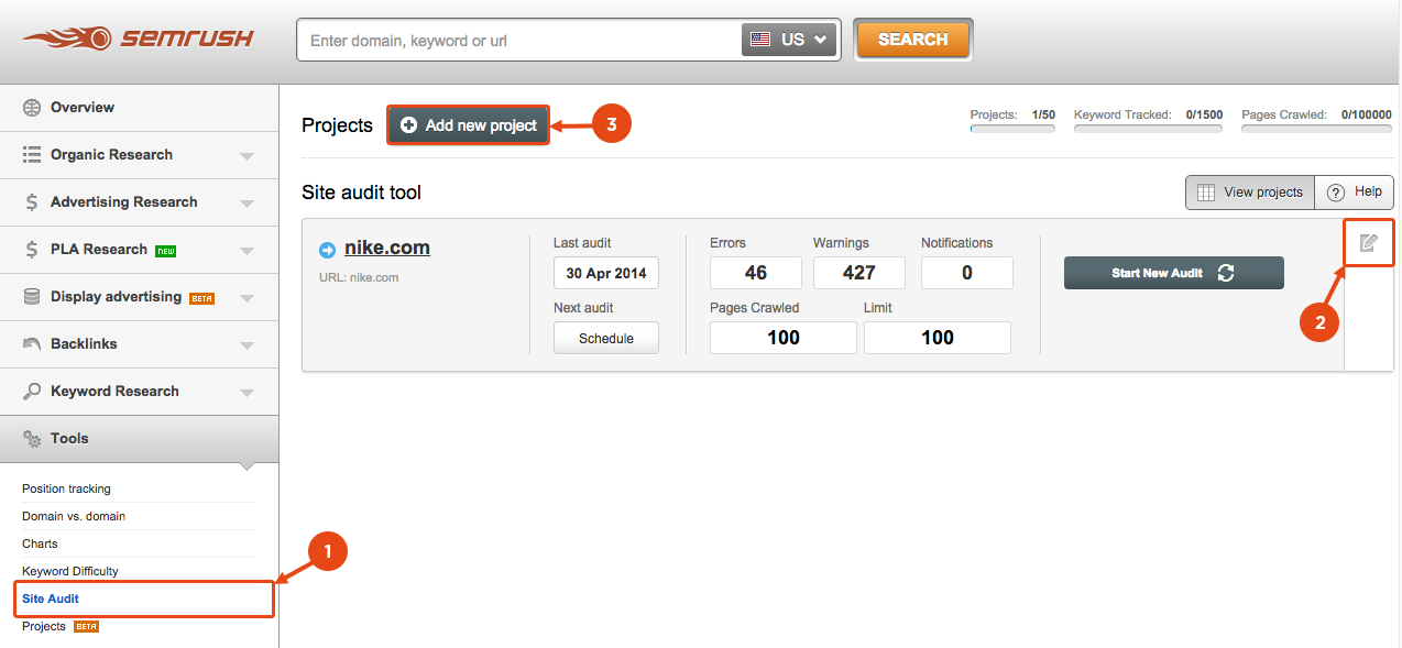 SEMrush: The Site Audit tool crawls 2 times more pages! image 2