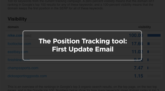 The SEMrush position tracking tool has a new email notice