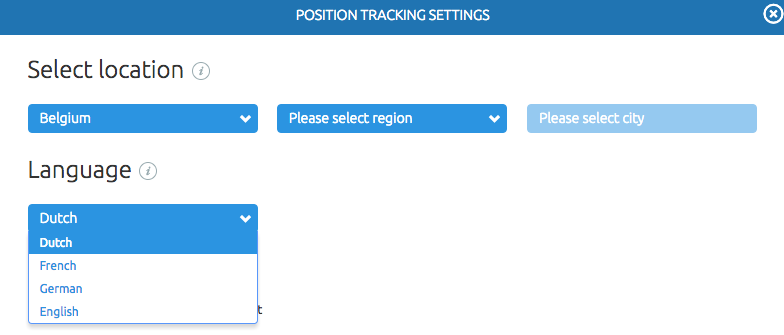 SEMrush: Position Tracking: Language Selection within a Region image 2