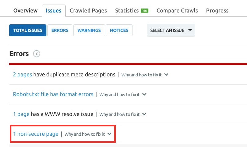 "SEMrush: Site Audit: On-demand Checks for ""Not Secure"" Pages image 3"