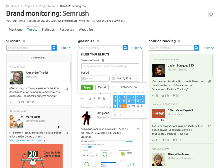 SEMrush: Be the First to Test Our New Twitter Tracking Service With the Brand Monitoring Tool image 2