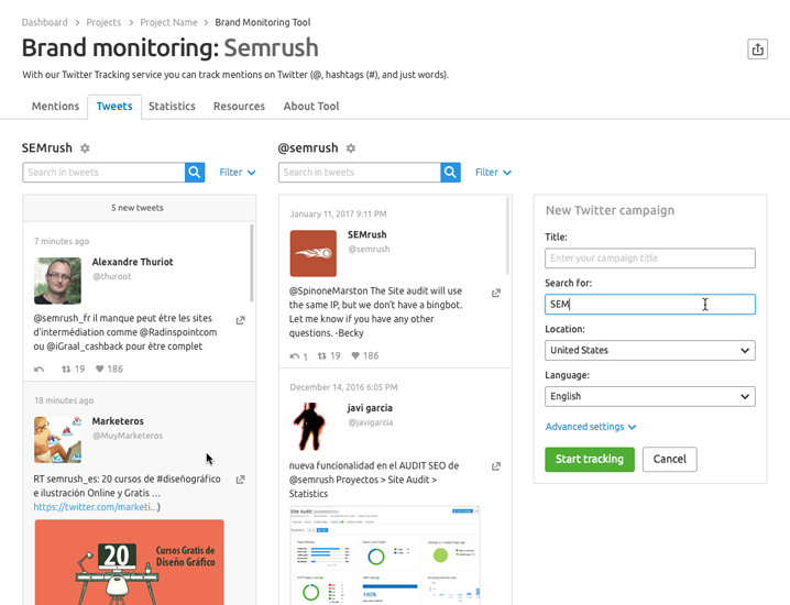 SEMrush: Be the First to Test Our New Twitter Tracking Service With the Brand Monitoring Tool bild 3